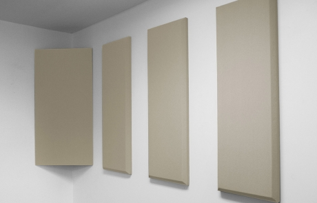 FulFill 3 Pack in birch shown mounted on a wall with Corner Trap Panel